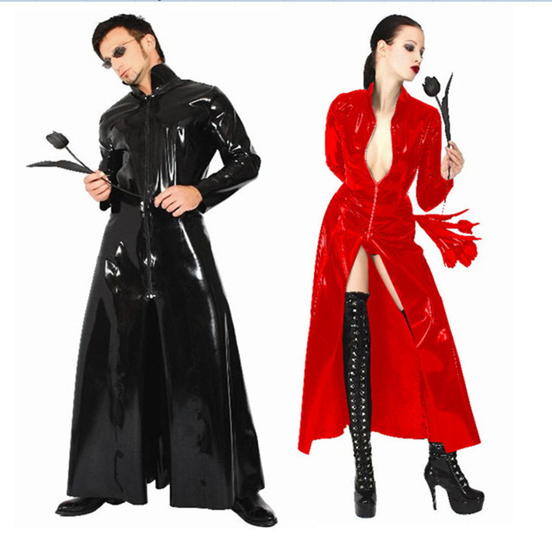 Red Black Latex Catsuit PVC Leather Catsuit The Matrix Costume Gay Latex Costume Stretchable Spandex Patent Leather Long Coat