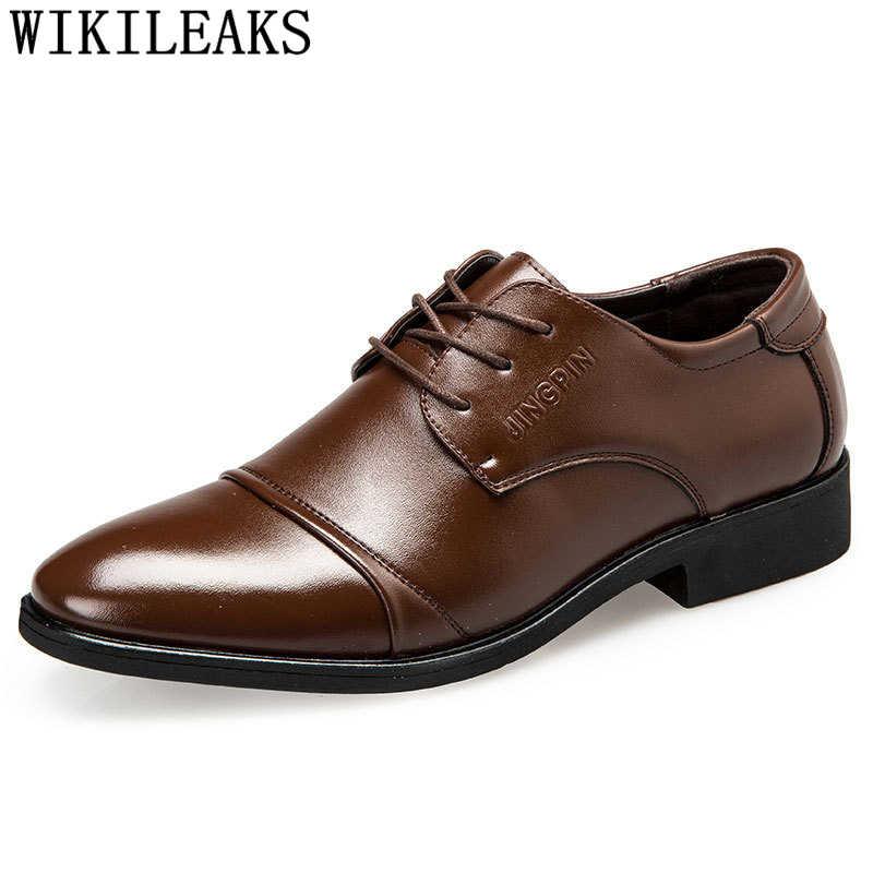حذاء رجالي رسمي أكسفورد إيطالي رجالي أحذية من الجلد ماركة coiffeur الرسمي أحذية الرجال الكلاسيكية كبيرة الحجم فستان بني buty meskie