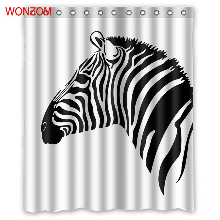 WONZOM Zebra Shower Curtains Bathroom Waterproof Accessories For Decor Modern Animal Horse Bath Curtain With 12 Hooks