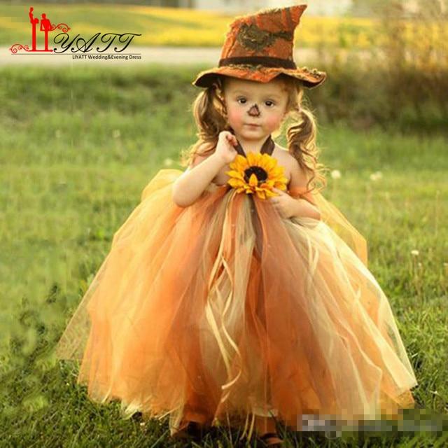 654af59535f Sunflower Lovely Tulle Flower Girls Dresses Ribbons Sleeveless Communion  Dress Cute Ankle-Length Flower Girl Pageant Ball Gowns