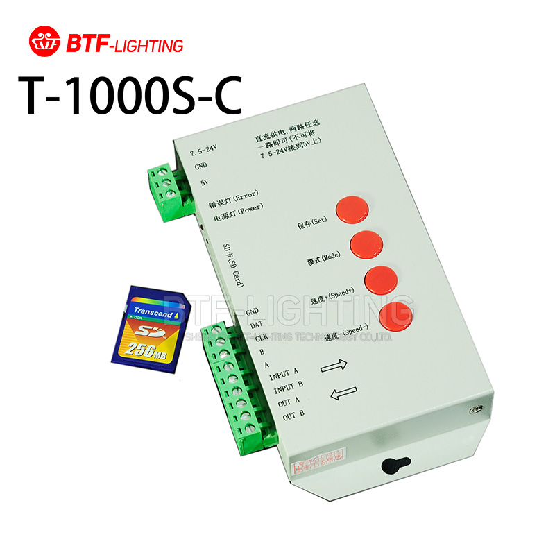 T1000S-C SD Card for APA102 D7710,SK6812, 1889, 1882, 9221, LED 2048 Pixels Controller DC5~24V T-1000S RGB Controller