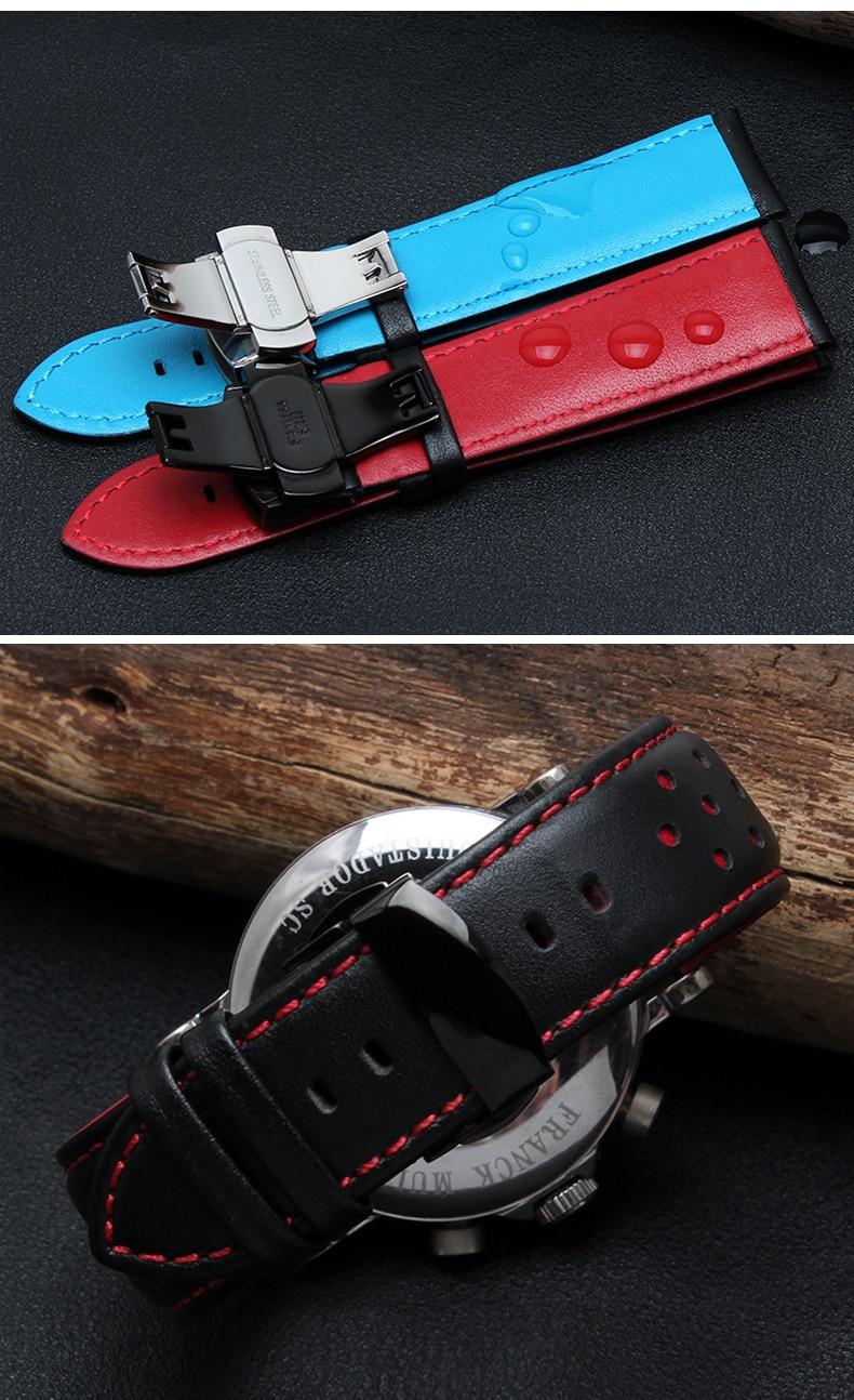 20mm 22mm äkta kuskinn läder handgjord svart röd blå utbyte - Tillbehör klockor - Foto 4