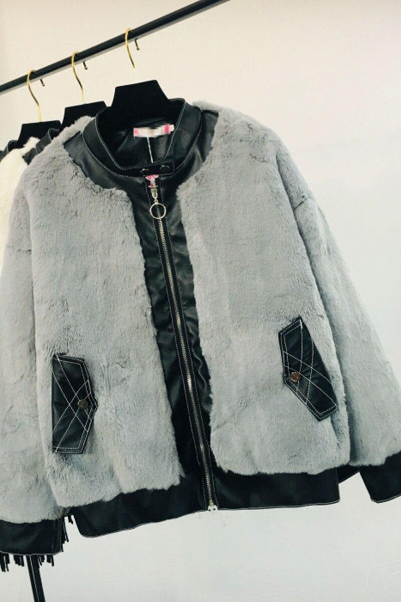Couture Manteau Hiver Chaud gris Automne Mode Épaissie kaki 2018 De Fourrure Nouvelle Femelle Veste Cuir Blanc Femmes Outwear noir En Rqzw8tw