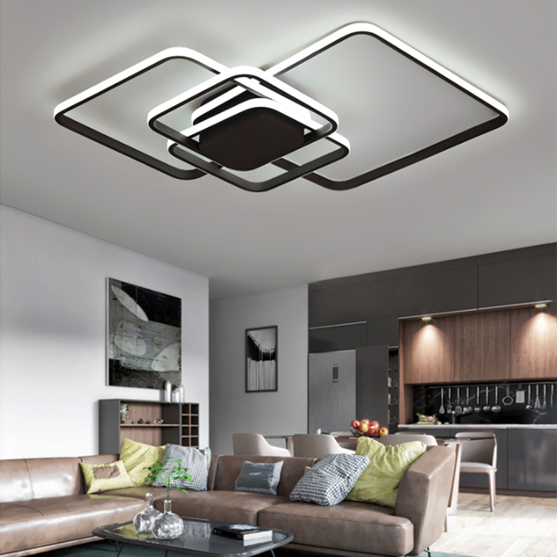 Brown or White Living Room Bedroom Study Room Modern Led Ceiling Chandelier Deco Minimalism Led Chandelier Fixtures