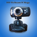 HD webcam 8 Mega CMOS de la cámara web usb web cam 3 LED color Negro cámara de la pc con micrófono