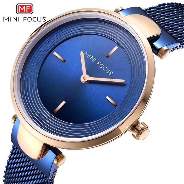 MINI FOCUS Brand Women Watches Luxury Blue Quartz Ladies Watch Women Diamond Bra