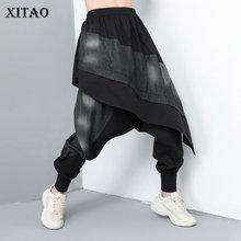 新 XITAO ZLL3265 スプライス潮人格ストリートパンツルース偽トウ片全身パンツ夏の服