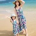 Новый 2017 лето Семья посмотрите clothing случайный Синий цветок платье мать дочь платья праздник платье партии платья