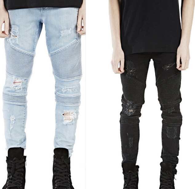 European and American high-end street hole BIKER JEANS stereo clipping cultivate morality elastic foot locomotive JEANS