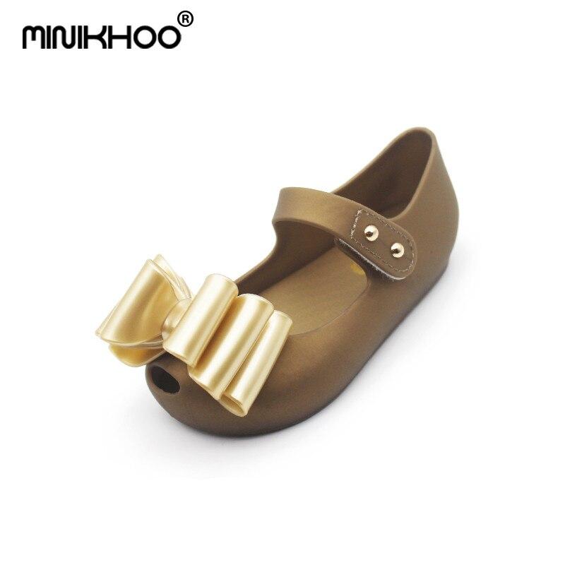 Mini Melissa Big Bow Girl Jelly Sandals 2018 Summer Children Shoes Non-slip Melissa Girls Sandals Princess Shoes High Quality