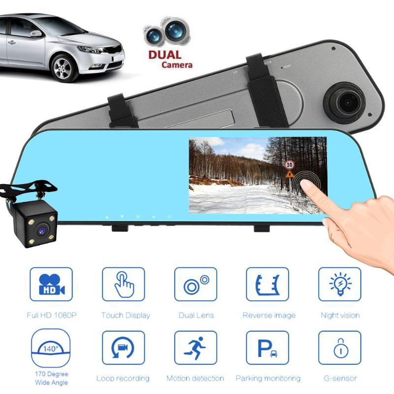 5 inch Car Dvr Camera Full HD 1080P Automatic Camera Rear View Mirror With DVR And Camera Auto Recorder Dashcam Car DVRs New new mirror with rearview camera full hd 1080p with two cameras 5 inch black box video recorder dvr android car dvr dashcam