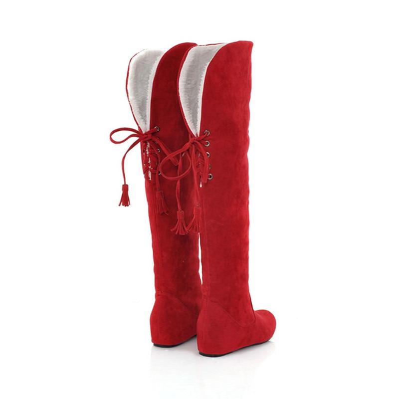 Zapatos De Calidad black La Botas Mujeres Invierno Tamaño Las Plus Alta yellow Grande Lana red Gamuza Beige Marca 5zAgW