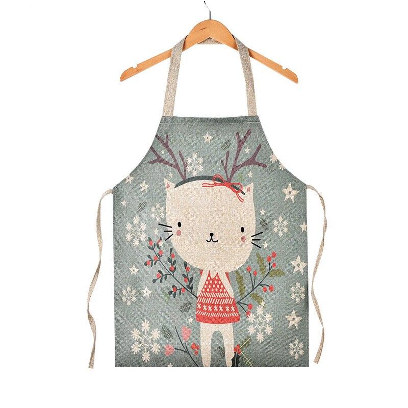 Parents Kids Creative Linen Sleeveless Apron Lovely Cartoon Horse Deer Rabbit Cat Aprons