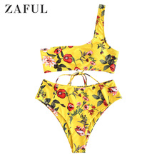 ZAFUL Women One Shoulder Bikini Set Lace Up Floral Print High Waist Lady Sexy Swimwear Summer Beach Swimsuit Bathing Suit