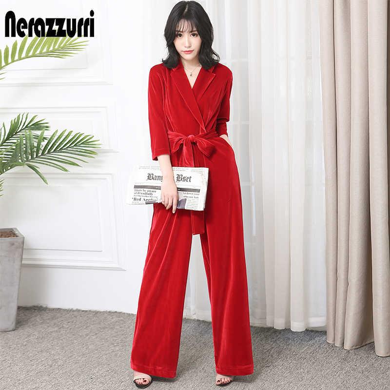 Nerazzurir กำมะหยี่ยาว jumpsuit แขนสำหรับผู้หญิง 2019 สีแดงสีดำบวกขนาดกว้างขา sashes maxi ชั้นความยาว romper