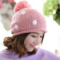 BomHCS Pink Winter Autumn Warm Lovely Baggy Crochet Handmade Knit Beanie Skullies Hats