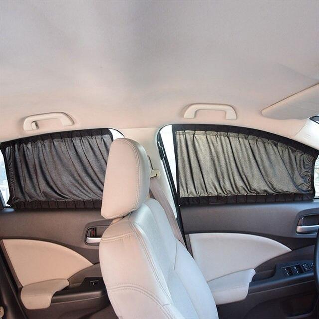 2 x update 70 s aluminiumlegering elastische auto side window zonnescherm gordijnen auto windows zonneklep jaloezien cover zwart beige grijs