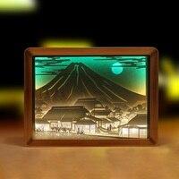 Mount Fuji Japan USB 3D Paper Carving Lamp Laser Hollow Novelty Lighting Atmosphere LED Handcraft Night Light Gift Home Decro