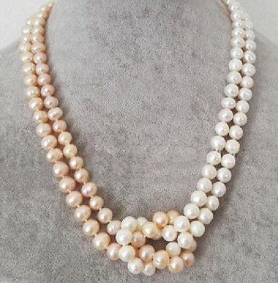 "51 ""naturel 9-10 MM AKOYA blanc naturel BAROQUE collier de perles jaune boule @"