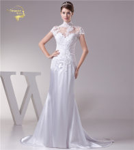 Jeanne Love Mermaid Wedding Dresses 2018 Bridal Dress Satin Applique Lace Beading Cover High Neckline Robe De Mariage JLOV75958