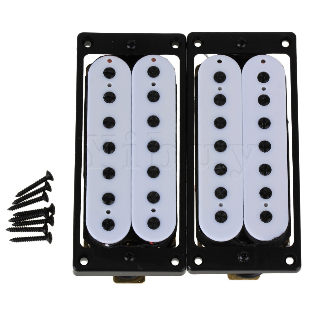 Yibuy 2pcs 7 String Bridge Neck Pickup Set Double Coil Humbucker White with Screws electric guitar pickup humbucker for 6 string 6 pieces double coil pickups set neck bridge pickup humbucker double coil