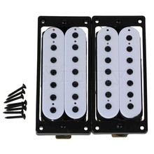 Yibuy 2pcs 7 String Bridge Neck Pickup Set Double Coil Humbucker White with Screws