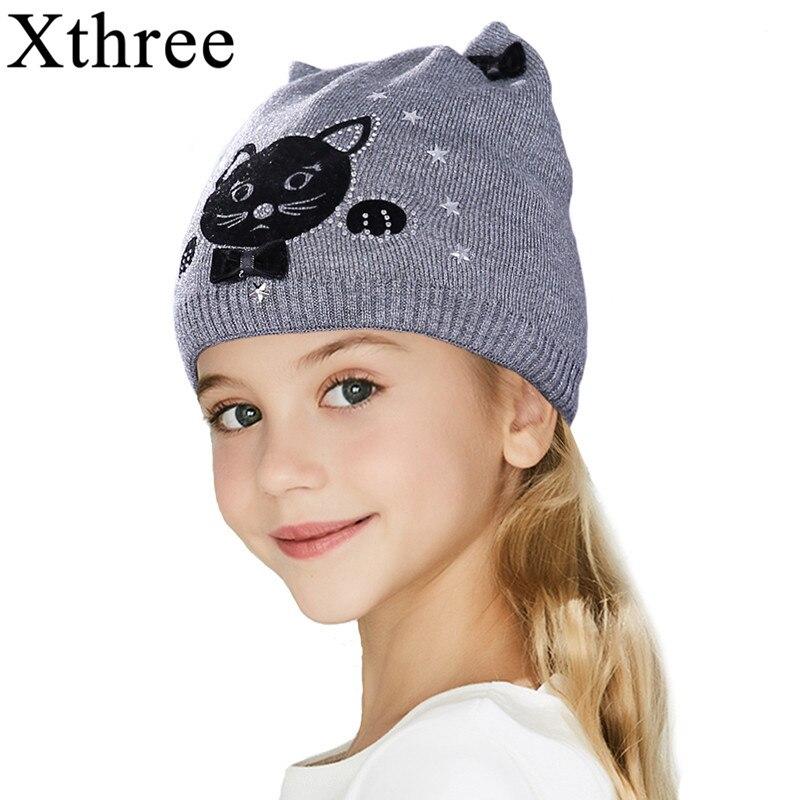 Xthree mignon kitty enfants hiver automne chapeau tricoté bébé coton bonnets chapeau pour fille
