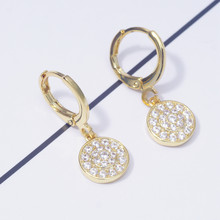 Female Fashion Round Dangle Drop Earrings for Women Micro Pave White Crystal Zircon Gold Filled Party Jewelry Dropshipping(China)