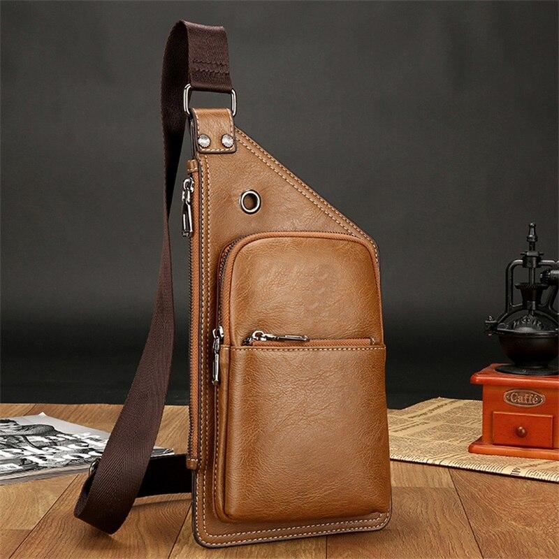 2018 New Fashion Men Crossbody Bags Vintage Chest Bag Summer Bag Men Chest Pack Single Shoulder Strap Back Bags Leather Travel