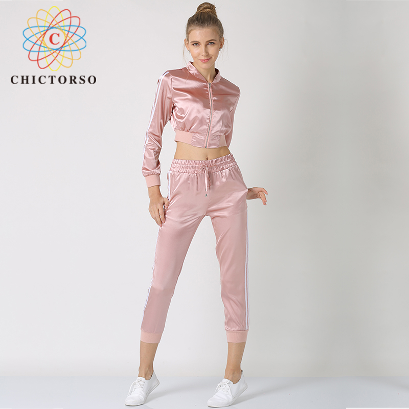 Chictorso Fashion Women Tracksuit Satin Two Piece Set Casual Long Sleeve Striped Cropped ...
