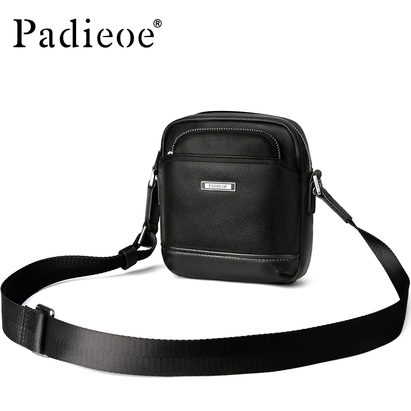 Padieoe Casual Men's Satchel Famous Brand Shoulder Bag for Male Genuine Leahter Men Messenger Bag Fashion Mini Crossbody Bag casual canvas satchel men sling bag