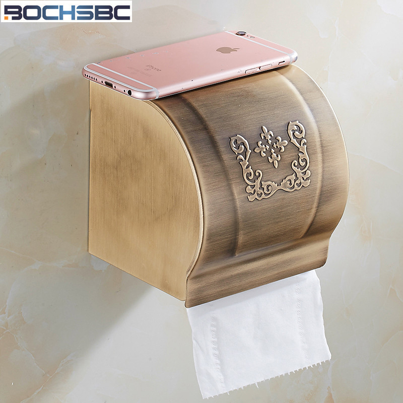 BOCHSBC European Toilder Paper Box Aluminum Alloy Gold Bathroom Accessories Waterproof Paper Holder Box
