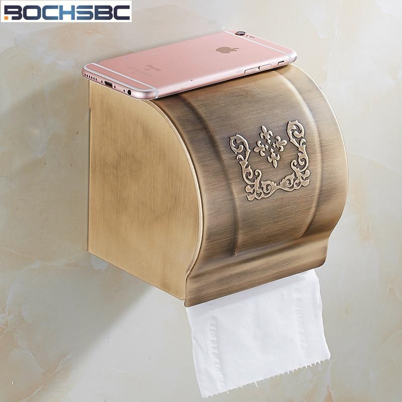 Европейская бумажная коробка BOCHSBC, алюминиевый сплав, золотые аксессуары для ванной комнаты, водонепроницаемая бумажная коробка-держатель