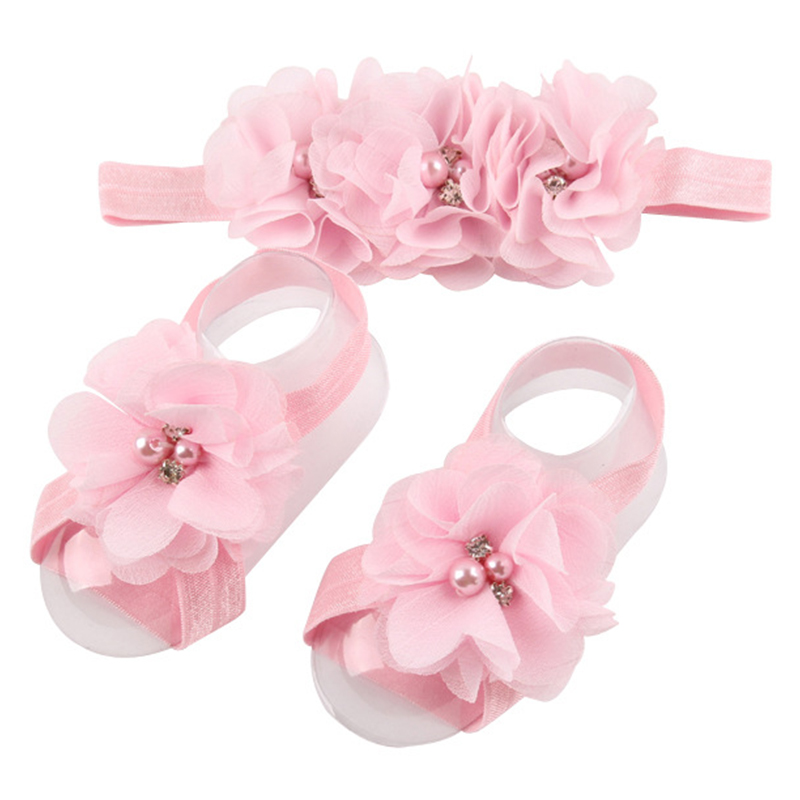 Baby Girl Hair Accessories&shoes Set Newborn Hairband Chiffon Flower Headbands For Girl Elastic Baby Haarband Accessories