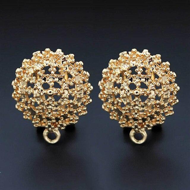 Clip Earrings Post with Loop Hanger Hollow Filigree Circel Flower DIY Metal Stud Earrings Findings 18x21mm 10 Pairs