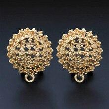 Clip pendientes poste con percha con bucle hueco filigrana Circel flor DIY Metal pendientes hallazgos 18x21mm 10 pares