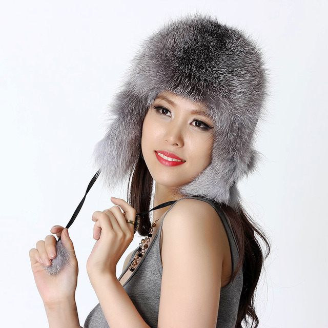 Luxury Winter Ladies' Genuine Real Fox Fur Bomber Hat Women's Fur Cap Headgear VF0447