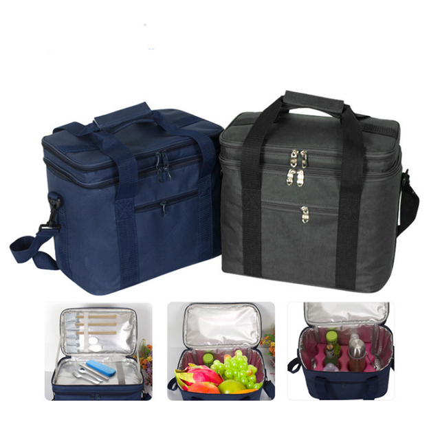 Double Layer Insulated Food Delivery Grocery Bag Picnic Insulated Bag - Black