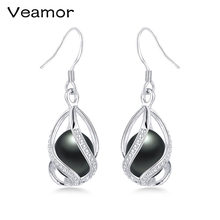 Charm Pearl Earrings For Women Cage Jewelry Genuine Freshwater Pearl 925 Sterling Silver Earrings New Trendy Jewelry(China)