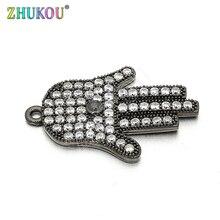 12*26mm Top qualität Messing Zirkonia Glück Hamsa Hand DIY Schmuck Armband Halskette, Die, Modell: VD61