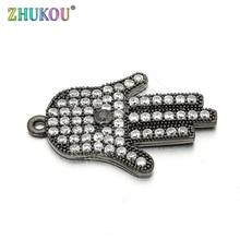 12*26mm Top quality Brass Cubic Zirconia Lucky Hamsa Hand DIY Jewelry Bracelet Necklace Making, Model: VD61