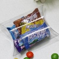 50 개 명확한 PVC 플라스틱 상자 투명 베개 사탕 상자 웨딩 아기 샤워 초콜릿 상자 크리스마스 선물 포장 상자