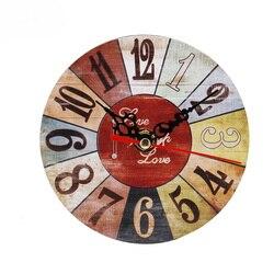 Drewniany zegar Vintage drewniana ściana zegar w antycznym stylu kreatywny artystyczny okrągły nowoczesny Design dekoracja kuchenna Craft