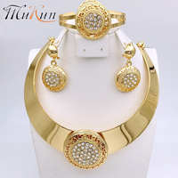 MUKUN 2017 High Quality Fashion Set Wedding Accessories Imitation Crystal Gold Thick African Necklace Wedding Jewelry