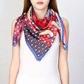 Autumn Print 100% Silk Twill Scarf Shawl for Women's Square Silk Scarves Wraps 90x90cm Clothing Accessory