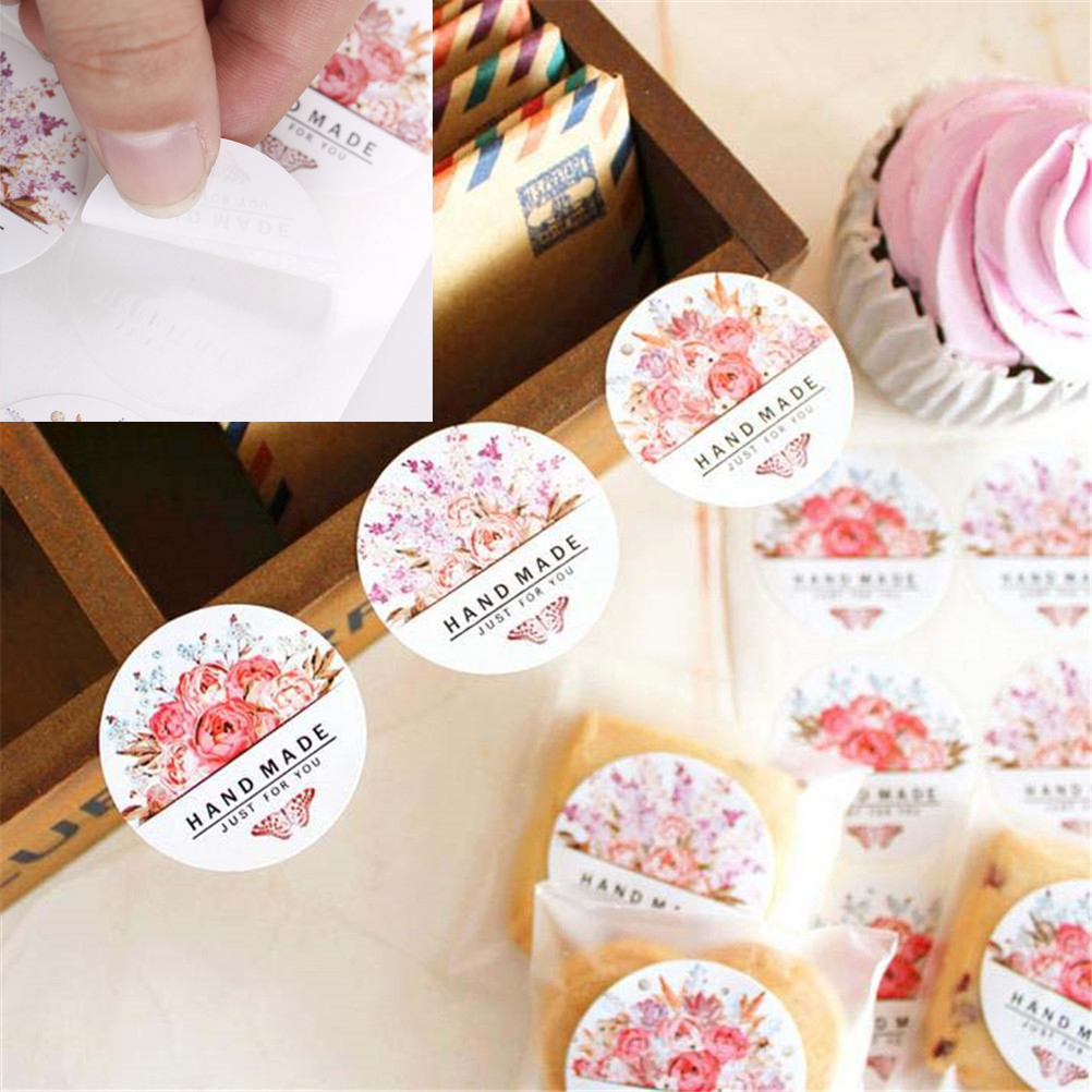 54pcs/lot Colorful Round Flowers Butterfly Just For You Hand Made Flower  Sticker Gift Baking Bag Sealing Packing Sticker DIY