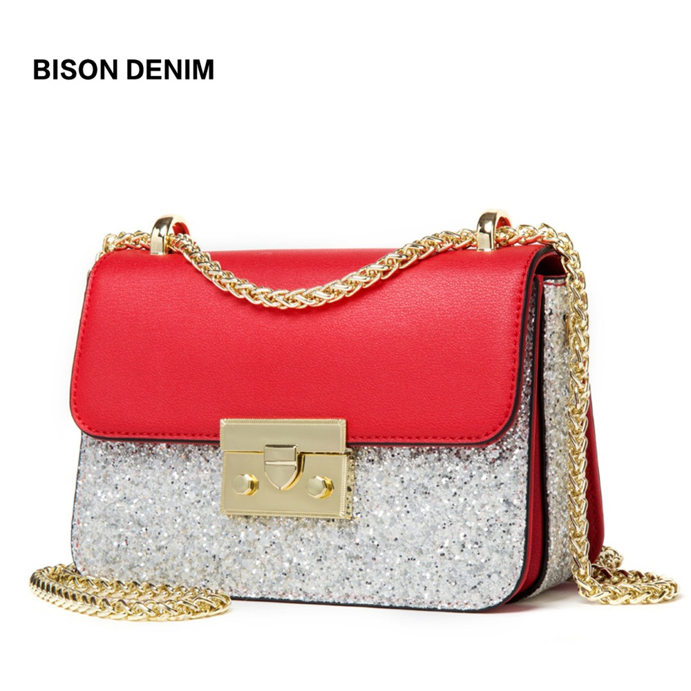 BISON DENIM Genuine Leather Women Bag Luxury Chain Shoulder Bags for Women 2018 Banquet Crossbody Bag bolsa feminina N1550 bison denim brand women bags genuine leather shoulder bag female for women 2018 luxury crossbody bag bolsa feminina n1560