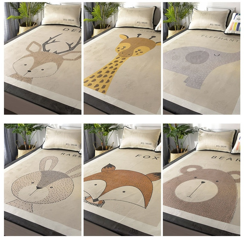 все цены на Cute Animals Rabbit Deer Elephant Bear Giraffe Fox Baby Play Mats Sleep Mat Blanket Nordic Kids Bed Room Decoration Photo Props