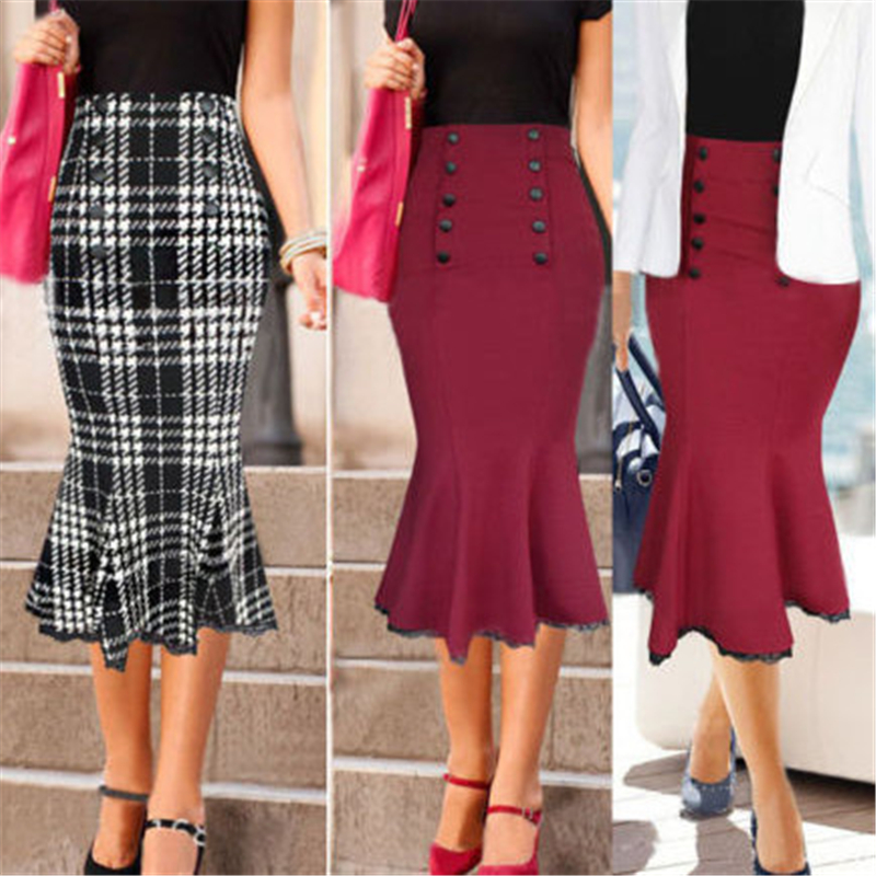 2016 Autumn Winter New Elegant Vintage Slim Bodycon Button Lace Bottom Mermaid Fish Tail Women Knee Length Pencil Skirt Office image