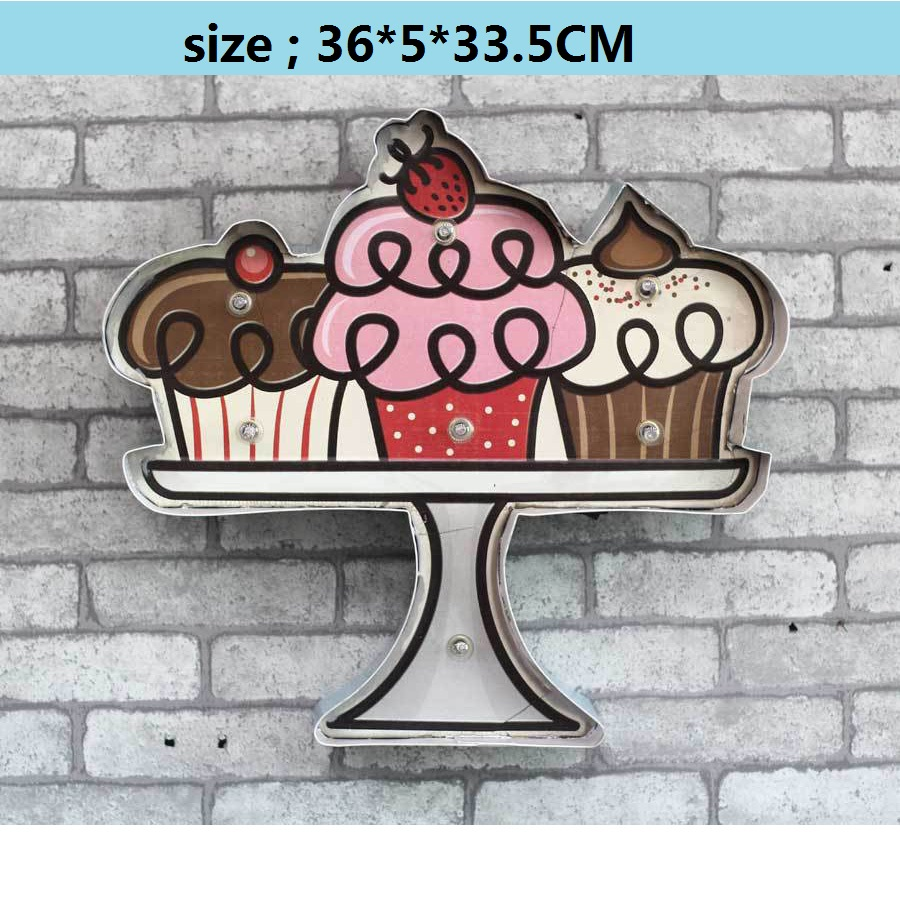 Vintage décor à la maison LED néon signe Placa Decorativa Cerveja Bar café Shabby chic Placas decorativas de métal étain signe gâteau dessert